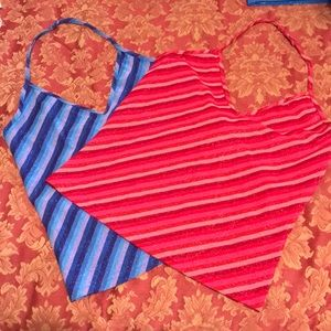 Two non-adjustable stretchy halter tops